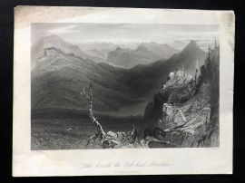 Bartlett Canada 1842 Antique Print. Lake beneath the Owl-head Mountain